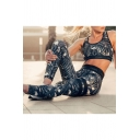 Fashion Crane Leaf Pattern Casual Sports Cropped Tank Top with Elastic Waist Skinny Pants