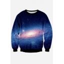 New Collection Chic Digital Galaxy Print Round Neck Long Sleeve Sweatshirt