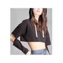New Stylish Hollow Out Long Sleeve Simple Plain Sexy Cropped Hoodie