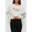 Simple Letter Embroidered Hot Fashion Round Neck Long Sleeve Cropped Sweatshirt