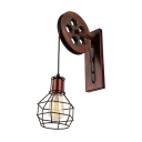 Vintage Extendable Wall Sconce with Globe Shade, Rust