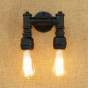 Industrial Wall Sconce Retro Loft Pipe Fixture Arm in Black/Bronze/Sliver, Open Bulb Style