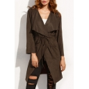 Fashion Notched Lapel Collar Long Sleeve Simple Plain Trench Coat with Pockets