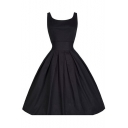 Vintage Retro Simple Plain Scoop Neck Sleeveless Midi Fit Flared Dress