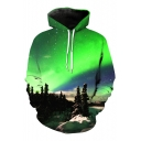 New Fashion Casual Loose Sports Long Sleeve 3D Snow Scene Printed Hoodie with Pockets