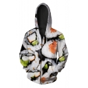 New Arrival Digital Sushi Pattern Long Sleeve Oversize Zip Up Hoodie