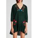 Fashion Floral Embroidered V Neck 3/4 Sleeve Plaids Print Ruffle Hem Mini Dress