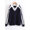 Fashion Fake Two-Piece Zip Up Collar Color Block Long Sleeve Pullover Sweater