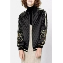 Chic Crane Floral Embroidered Long Sleeve Stand-Up Collar Zip Up Coat