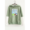 New Arrival Fashion Color Block Cartoon Printed Long Sleeve Cotton Hoodie