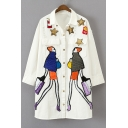 Cartoon Fashion Lady Printed Graffiti Sequined Buttons Down Denim Coat