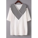Color Block V-Neck Drop Shoulder Stripe Half Sleeve Sweater