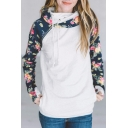 New Stylish Color Block Floral Pattern Casual Sports Long Sleeve Hoodie