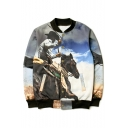 Stand-Up Collar Long Sleeve Fashion 3D Cowboy Pattern Buttons Down Baseball Jacket