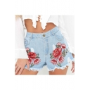 Floral Embroidered Raw Hem Ripped Light Wash Demin Shorts