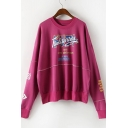 Casual Leisure Street Style Letter Print Long Sleeve Round Neck Sweatshirt
