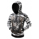 New Arrival Digital Skull Pattern Long Sleeve Zip Up Hoodie with Pockets