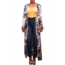 Hot Fashion Floral Pattern Long Sleeve Open Front Longline Coat