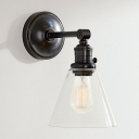 Industrial Wall Sconce Modern Style Wrought Iron Arm with Conical Glass Shade in Black