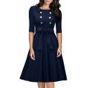 Hot Fashion Double Breasted Collared Half Sleeve Midi Plain A-Line Dress