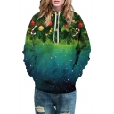 Fashion Digital Galaxy Christmas Trees Printed Long Sleeve Casual Hoodie