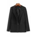 Notched Lapel Collar Long Sleeve Simple Plain Blazer Coat with Single Button
