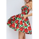 Summer's Vintage Floral Pattern Bandeau Elegant Mini A-Line Dress