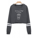 Cartoon Coffee Letter Pattern Long Sleeve Round Neck Loose Cropped Sweatshirt