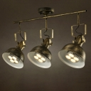 Industrial 3 Light Semi Flushmount Ceiling Light with Bowl Shade, Bronze