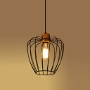 Vintage Pendant Light with Lantern Shape Shade, Black