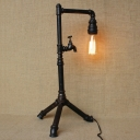 Industrial Floor Lamp with Tap Decorative Pipe Fixture in Open Bulb Style, Black