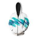 Digital Color Block Splash-Ink Print Long Sleeve Unisex Zip Up Casual Hoodie