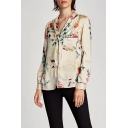 Fashion Floral Print Notched Lapel Collar Long Sleeve Shirt with Single Pocket