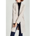 Fashion Simple Plain Long Sleeve Open Front Trench Coat with Double Pockets