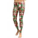 Cartoon Christmas Snowman Pattern Color Block Skinny Sports Leggings
