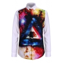 Color Block 3D Galaxy Printed Long Sleeve Lapel Collar Buttons Down Shirt