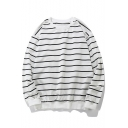 Classic Striped Pattern Long Sleeve Round Neck Casual Pullover Sweatshirt