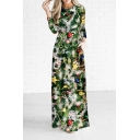 New Arrival Fashion Christmas Trees Pattern Round Neck Long Sleeve Maxi Dress