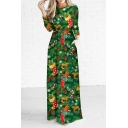 New Fashion Digital Christmas Trees Pattern Round Neck Long Sleeve Maxi Dress