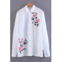 Fashion Floral Embroidered Lapel Collar Long Sleeve Buttons Down Shirt