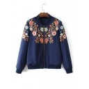 Fashion Floral Embroidered Stand-Up Collar Long Sleeve Zip Up Jacket