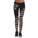 New Trendy Christmas Snowflake Pattern Elastic Waist Skinny Sports Leggings