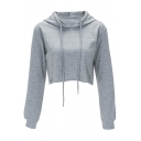 Casual Comfort Sports Basic Plain Long Sleeve Cropped Hoodie
