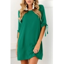 Basic Plain Round Neck Half Sleeve Casual Leisure Mini T-Shirt Dress
