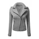 Basic Simple Plain Notched Lapel Collar Long Sleeve Zip Up Coat
