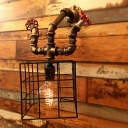Industrial Wall Sconce with Square Metal Cage Frame Valve Decorative Pipe Style Fixture Arm