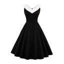 Vintage Fashion Color Block V Neck Sleeveless Graceful Midi Flared Dress