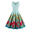 Hot Popular Retro Floral Printed V Neck Sleeveless Midi Fit Flared Dress