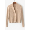 Simple Plain Three Buttons Down Long Sleeve V Neck Cardigan Coat