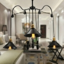 Industrial Extendable Multi-Light Pendant Light with Black and Gold Finished, 3 Lights